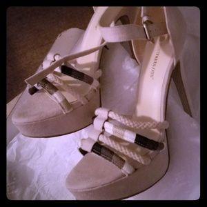 Beige high heeled sandals